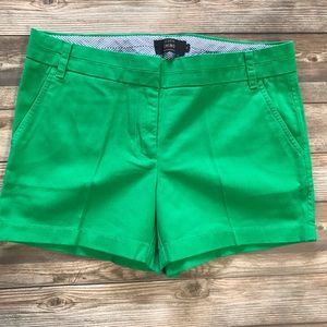 J. Crew Size 8 100% Cotton Green Chino Shorts